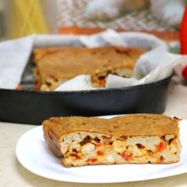 Заливной пирог с мясом и сладким перцем