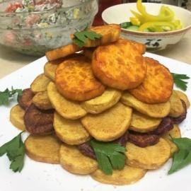 Ломтики картошки жареные во фритюре