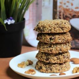 Ореховое печенье с овсянкой и шоколадом