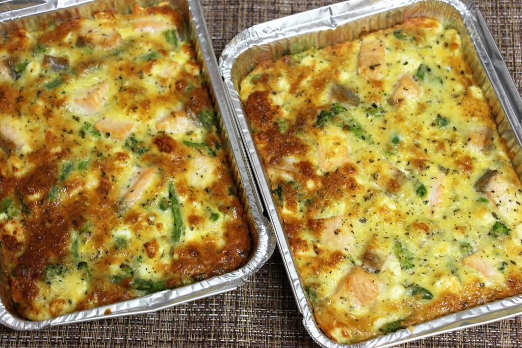 Запеканка с лососем и овощами